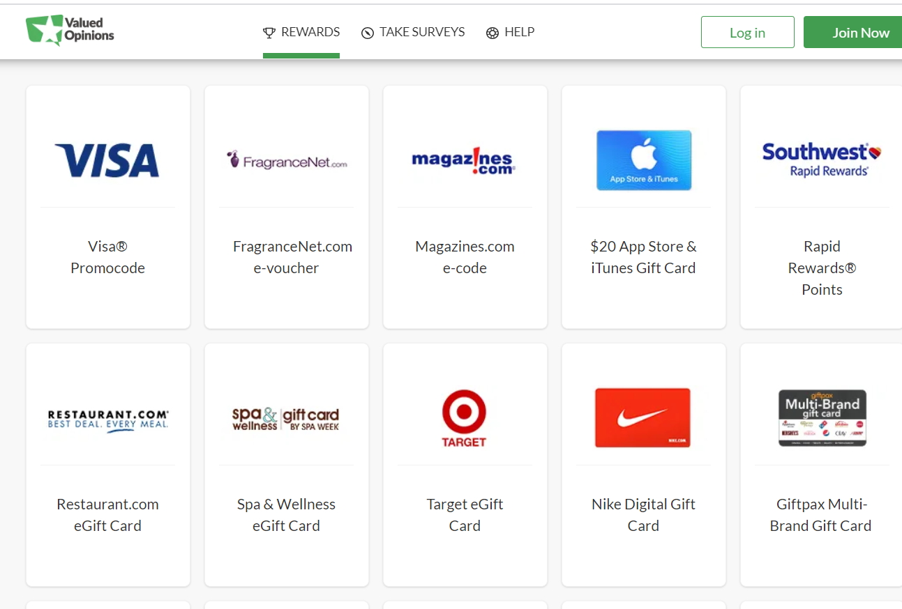 Top brands gift cards at valued opinion