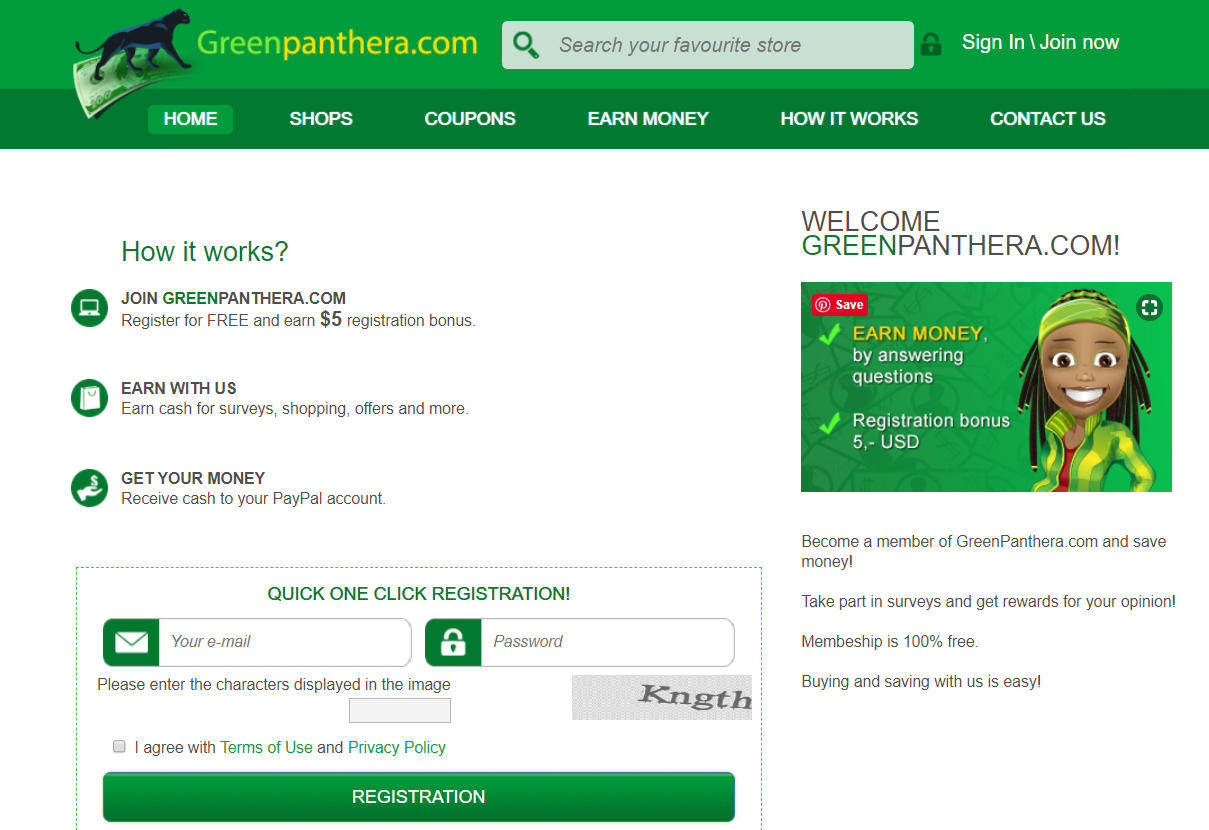 login seceen for Green Panthera